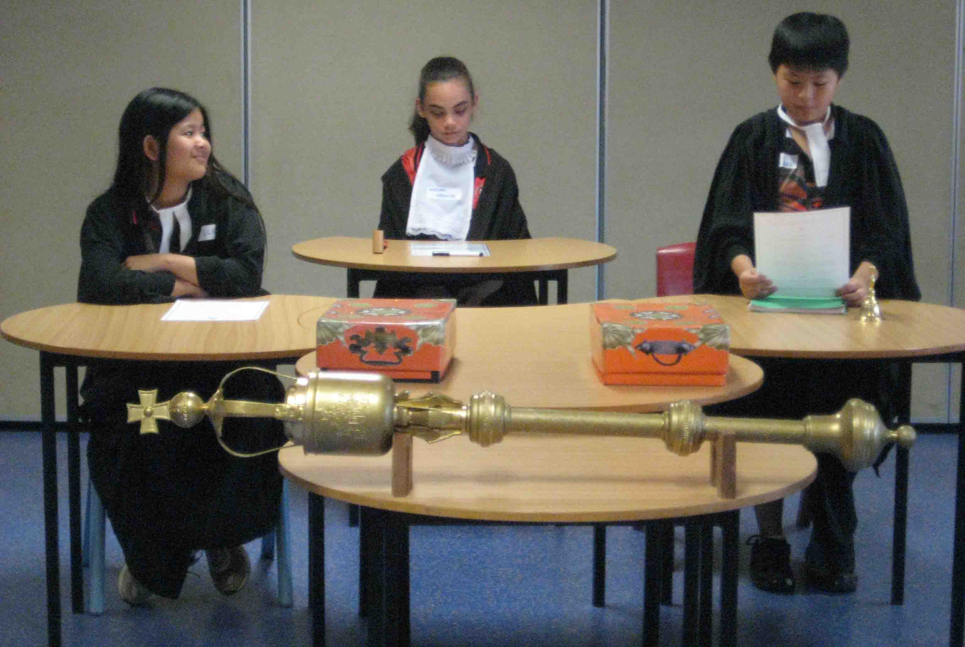 Students participating in role play