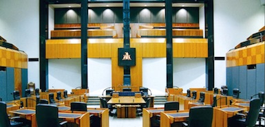 Legislative Assembly Chamber inside view from the middle of the room